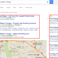 google adwords example chicago roofing